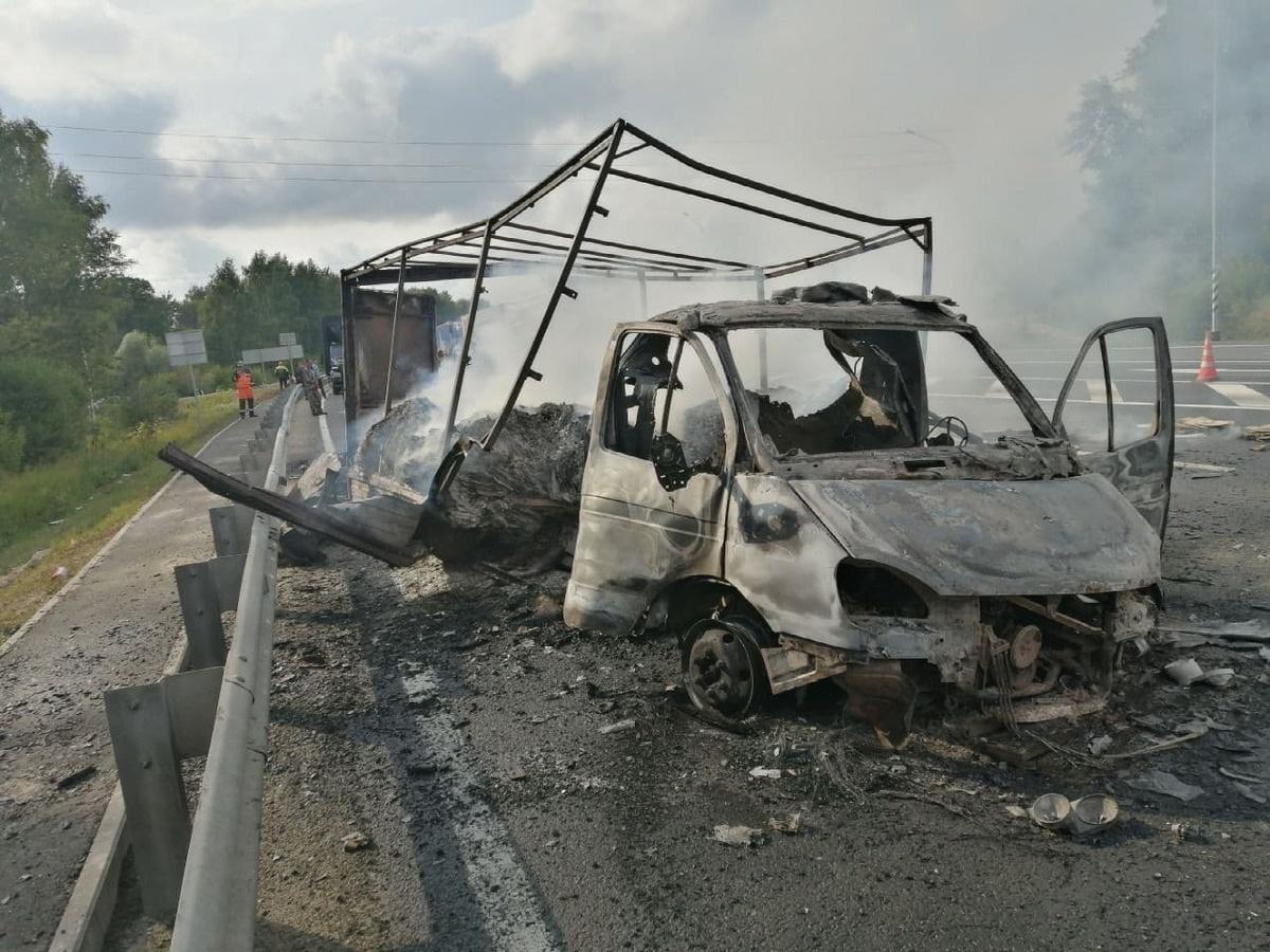«ГАЗель» сгорела в Лысковском районе - фото 1