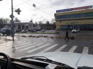 Яблочно-дорожное происшествие наблюдали очевидцы в Дзержинске