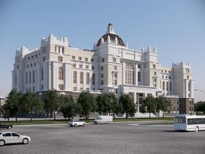 Строящийся Дворец правосудия загорелся в Нижнем Новгороде